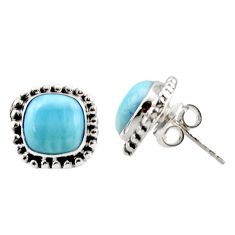 925 sterling silver 7.24cts natural blue larimar stud earrings jewelry r36620