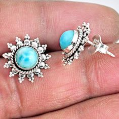 925 sterling silver 2.44cts natural blue larimar stud earrings jewelry r55340