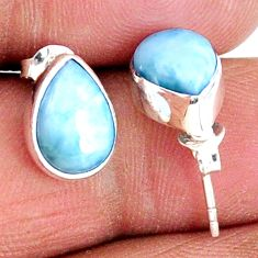 925 sterling silver 5.46cts natural blue larimar stud earrings jewelry r56479