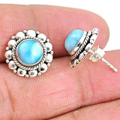 925 sterling silver 2.81cts natural blue larimar stud earrings jewelry t3867