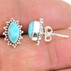925 sterling silver 3.84cts natural blue larimar stud earrings jewelry t3888