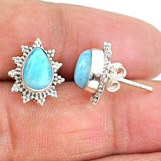 925 sterling silver 4.29cts natural blue larimar stud earrings jewelry t3897