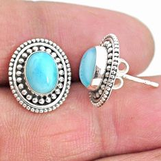 925 sterling silver 4.22cts natural blue larimar stud earrings jewelry t3903