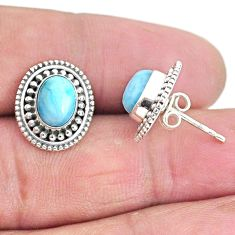 925 sterling silver 4.23cts natural blue larimar stud earrings jewelry t3920