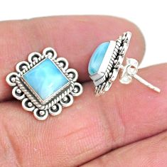 925 sterling silver 5.63cts natural blue larimar stud earrings jewelry t3924