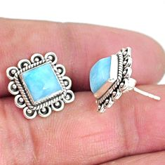 925 sterling silver 5.53cts natural blue larimar stud earrings jewelry t3927