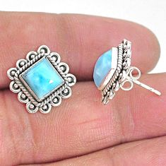 925 sterling silver 5.63cts natural blue larimar stud earrings jewelry t3934