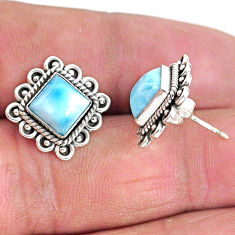 925 sterling silver 5.56cts natural blue larimar stud earrings jewelry t3937