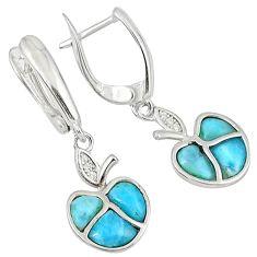 925 sterling silver natural blue larimar topaz dangle apple earrings c15508