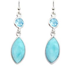 925 sterling silver 11.93cts natural blue larimar topaz dangle earrings r19738