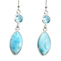 925 sterling silver 12.54cts natural blue larimar topaz dangle earrings r19773