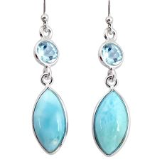 925 sterling silver 11.93cts natural blue larimar topaz dangle earrings r20912