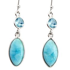 925 sterling silver 11.28cts natural blue larimar topaz dangle earrings r20916