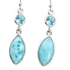 925 sterling silver 10.89cts natural blue larimar topaz dangle earrings r20919