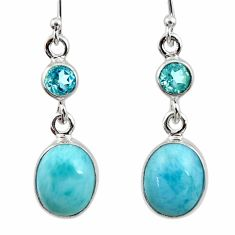 925 sterling silver 9.98cts natural blue larimar topaz dangle earrings r52148