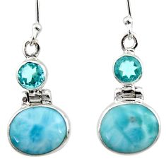 925 sterling silver 9.18cts natural blue larimar topaz dangle earrings r52152