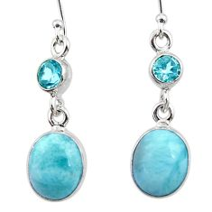 925 sterling silver 9.61cts natural blue larimar topaz dangle earrings r52159