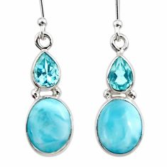 925 sterling silver 9.16cts natural blue larimar topaz dangle earrings r52164