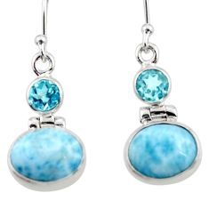 925 sterling silver 9.96cts natural blue larimar topaz dangle earrings r52175