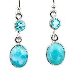 925 sterling silver 9.57cts natural blue larimar topaz dangle earrings r52179