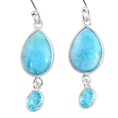 925 sterling silver 11.28cts natural blue larimar topaz dangle earrings r63644