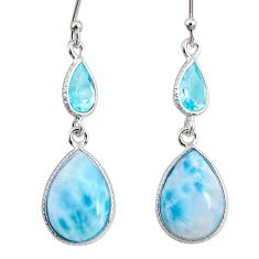 925 sterling silver 11.28cts natural blue larimar topaz dangle earrings r63648