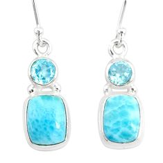 925 sterling silver 9.56cts natural blue larimar topaz dangle earrings r83792