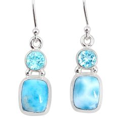 925 sterling silver 8.77cts natural blue larimar topaz dangle earrings r83868