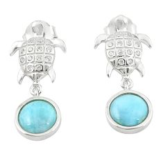 925 sterling silver natural blue larimar tortoise earrings jewelry c15507