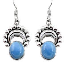Clearance Sale- 925 sterling silver 7.24cts natural blue owyhee opal dangle earrings d40540