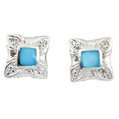 925 sterling silver natural blue pearl topaz enamel earrings a69665 c14273
