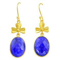 Handmade 15.93cts natural blue sapphire 14k gold dangle earrings t16434