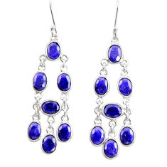 925 sterling silver 18.73cts natural blue sapphire chandelier earrings d39869