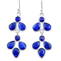 925 sterling silver 10.67cts natural blue sapphire chandelier earrings t38884