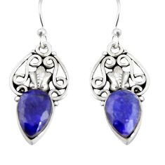 925 sterling silver 4.92cts natural blue sapphire dangle earrings jewelry r19891