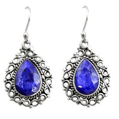 925 sterling silver 8.79cts natural blue sapphire dangle earrings jewelry r21704