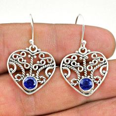 925 sterling silver 1.82cts natural blue sapphire dangle earrings jewelry t28127