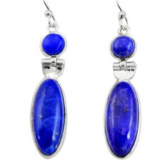 925 sterling silver 15.93cts natural blue sapphire dangle earrings r19924