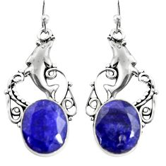 925 sterling silver 10.53cts natural blue sapphire dolphin earrings r24916
