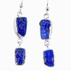 925 sterling silver 15.85cts natural blue sapphire rough dangle earrings r55372
