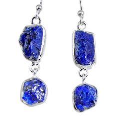 925 sterling silver 15.29cts natural blue sapphire rough dangle earrings r55375