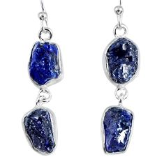 925 sterling silver 16.17cts natural blue sapphire rough dangle earrings r55378