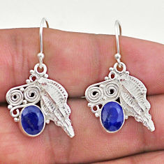 925 sterling silver 4.27cts natural blue sapphire seashell earrings t46984
