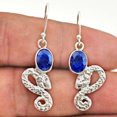 925 sterling silver 3.51cts natural blue sapphire snake earrings jewelry t40215