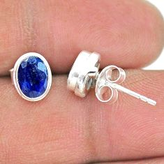 925 sterling silver 3.17cts natural blue sapphire stud earrings jewelry t19300