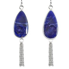 925 sterling silver 14.18cts natural blue sodalite pear dangle earrings r75657