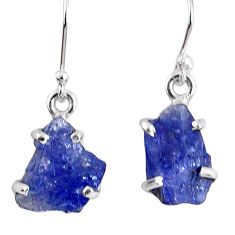925 sterling silver 10.08cts natural blue tanzanite rough dangle earrings r62111