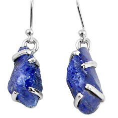 925 sterling silver 13.15cts natural blue tanzanite rough dangle earrings r62116