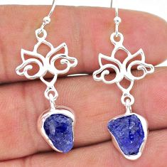 925 sterling silver 9.83cts natural blue tanzanite raw dangle earrings t17211