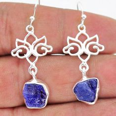 925 sterling silver 9.77cts natural blue tanzanite raw dangle earrings t17217